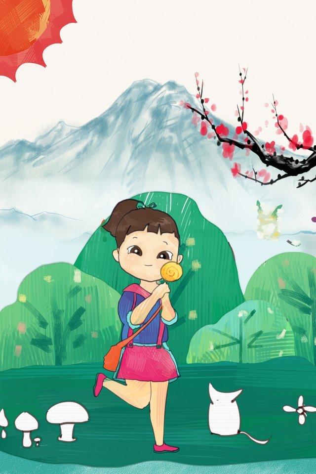 少女と猫、こどもの日、美しいイラスト シックスワン こどもの日 美しい 漫画 手描き 子供っぽい 子供っぽい ねこ 小さな女の子 癒し系シックスワン  こどもの日  美しい PNGおよびPSD illustration image