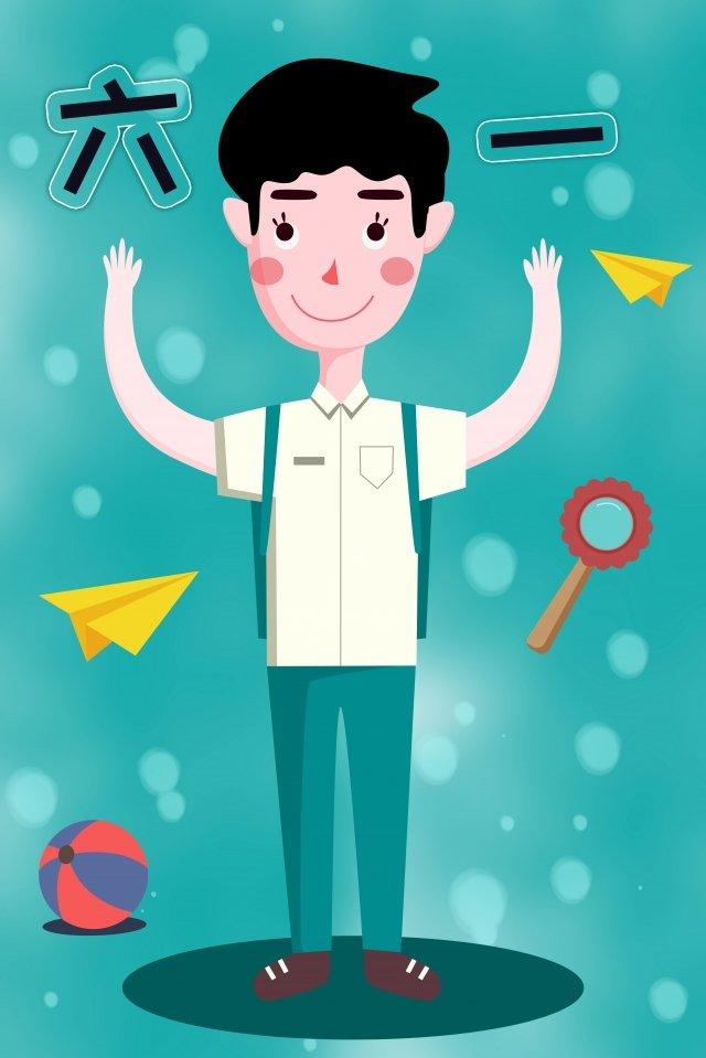 six one childrens day child boy, Boy, Cartoon Image, Lovely illustration image