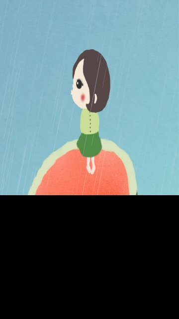 six one childrens day child looking up, Overlooking, Rain, Watermelon illustration image