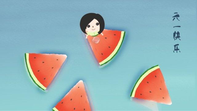 six one childrens day happy child, Child, Watermelon, Happy illustration image