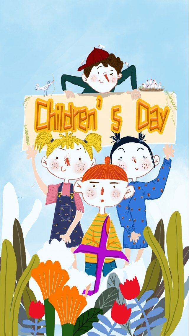 six one international childrens day cartoon child, Hand Painted, Poster, Flowers illustration image