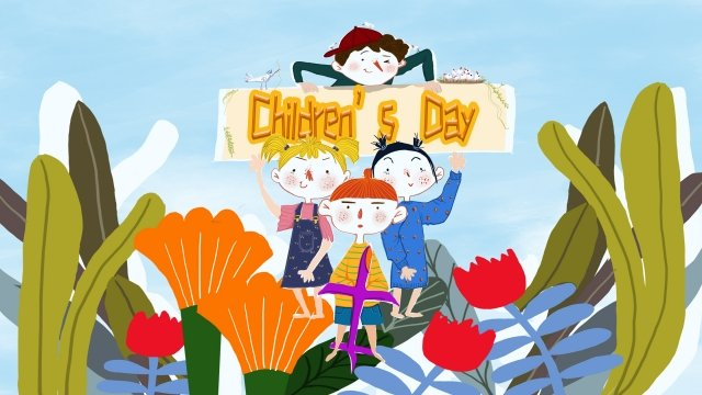 six one international childrens day cartoon child, Joy, Poster Background, Blue Sky illustration image