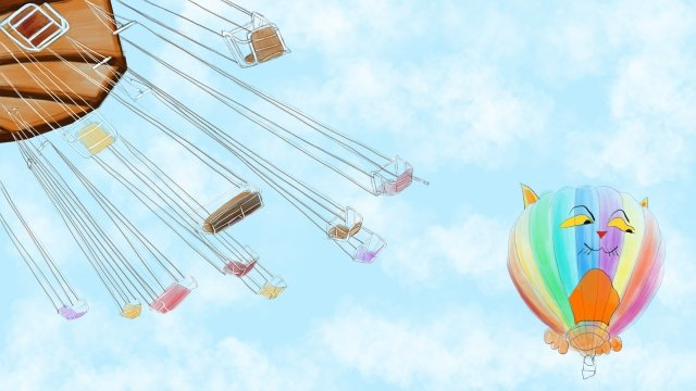 six one international childrens day fresh hot air balloon, Blue Sky, Swivel Chair, Poster illustration image
