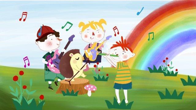 seis músicas de um dia internacional para crianças Material de ilustração