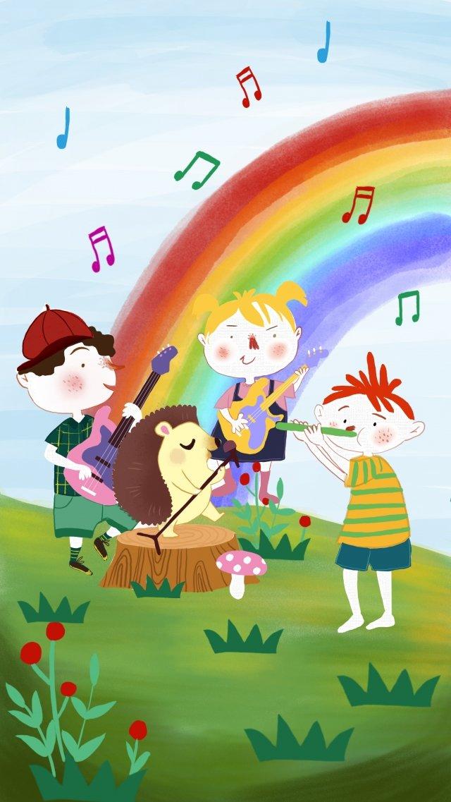 こどもの日音楽祭漫画ポスターの背景 シックスワン 国際 こどもの日 音楽 Shengdian 漫画 ポスター バックグラウンド 手描き 虹 こども グラスランド 青い空 音楽のシンボル 楽器シックスワン  国際  こどもの日 PNGおよびPSD illustration image
