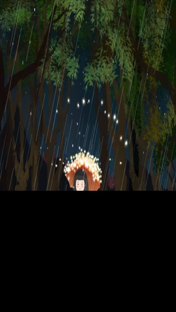 six one starry sky night rain, Star, Illuminate, Girl illustration image