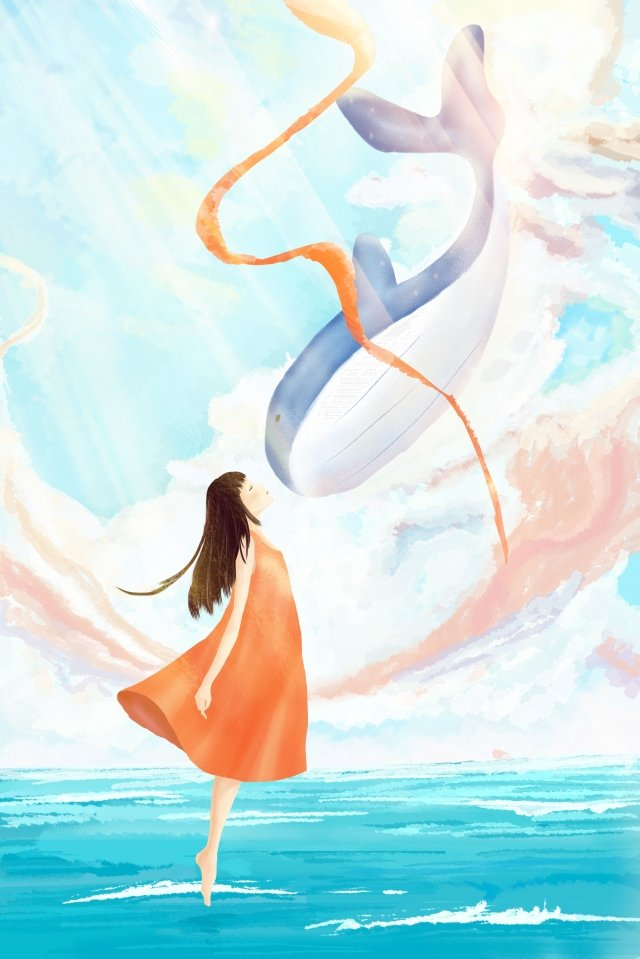 sky cloud dream girl and whale, Ribbon, Enjoy, Sky illustration image