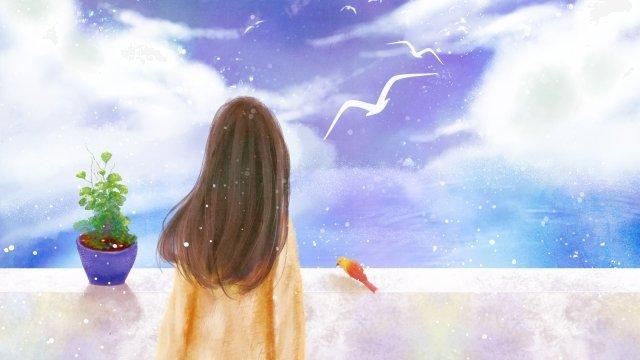 sky cloud little girl flower pot, Little Bird, Sea, Forest illustration image