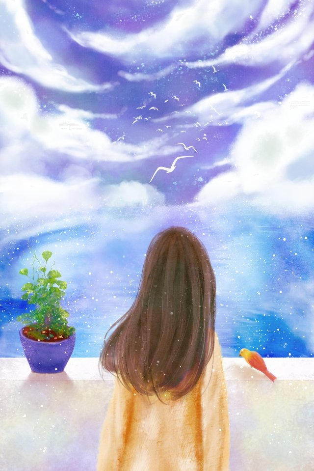 sky cloud little girl flower pot, Little Bird, Sea, Forest illustration image