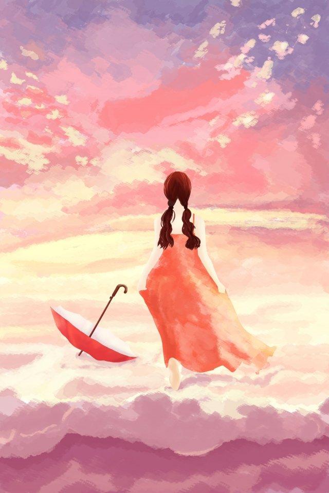 sky cloud pink clouds girl, Umbrella, Beautiful, Longing For illustration image
