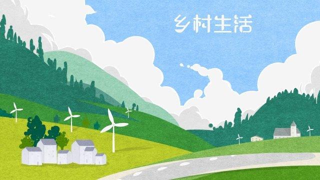 하늘 구름 식물 산 삽화 소재 삽화 이미지