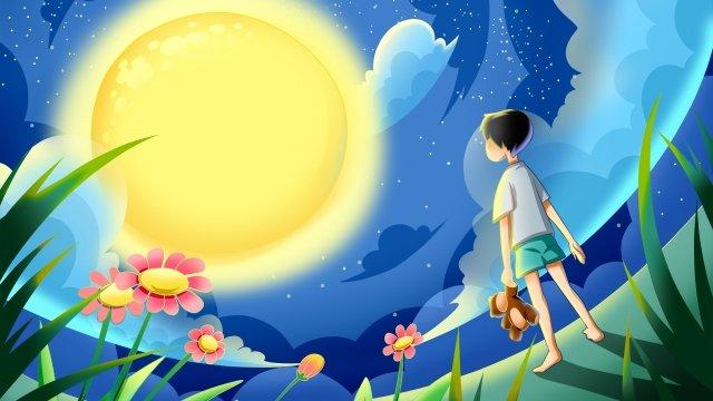 天空雲滿天星斗的天空領域 插畫素材