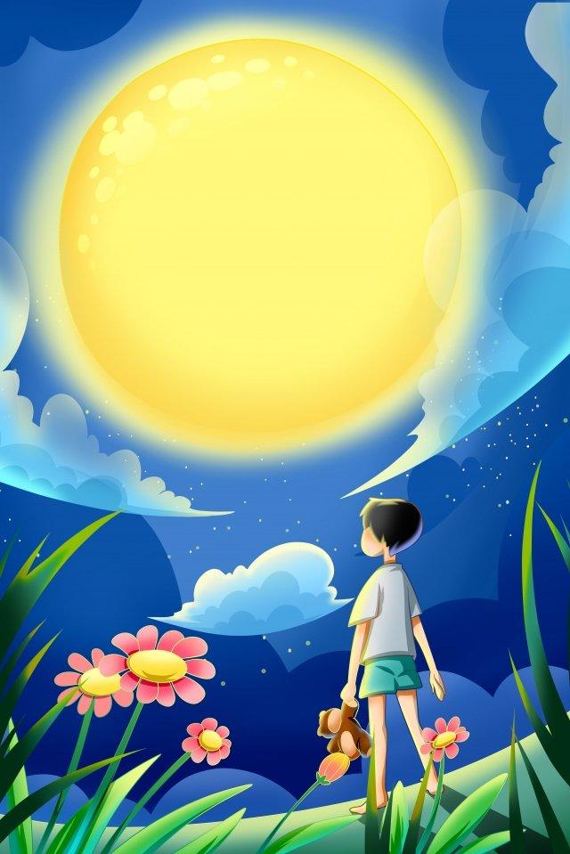 空の手描きの背景イラスト 空 クラウド 星空 フィールド 月 中秋 望月 青い空 夕方 少年 夜空空の手描きの背景イラスト  空  クラウド PNGおよびPSD illustration image