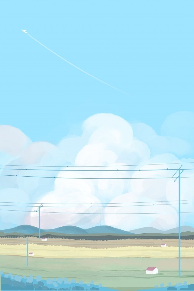 sky cloud white clouds village llustration image illustration image