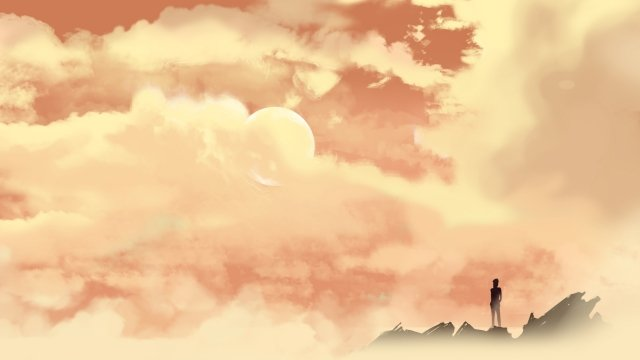 sky clouds sky lonely person hand painted, Sky, Clouds, Sky Clouds illustration image