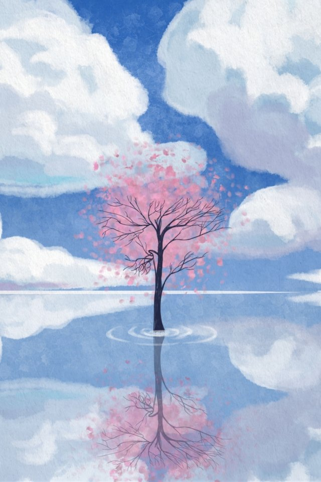 sky day white clouds cherry tree illustration image
