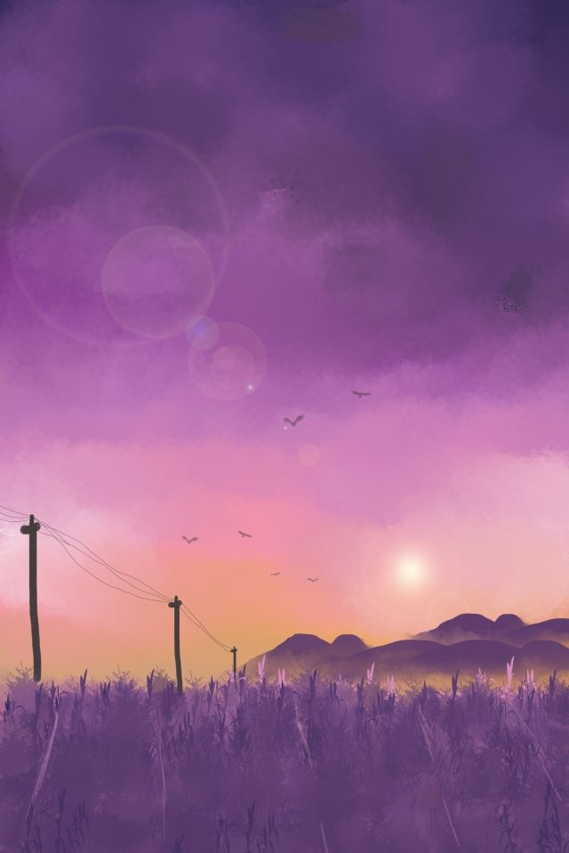 sky field sunset hill, Wild Goose, Purple, Hand Drawn Illustration illustration image