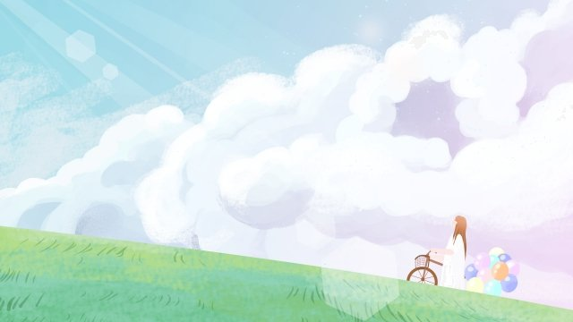 하늘 소녀 구름 구름 삽화 소재