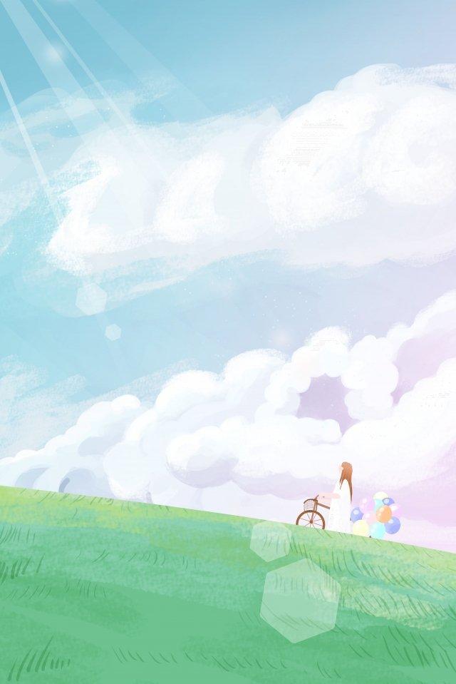 sky girl cloud cloud, Balloon, Bicycle, Grassland illustration image