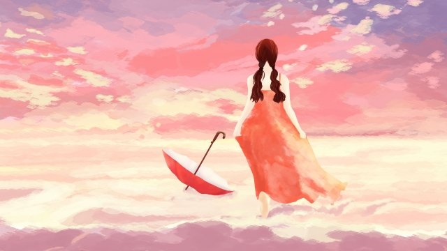 sky girl cloud stroll llustration image