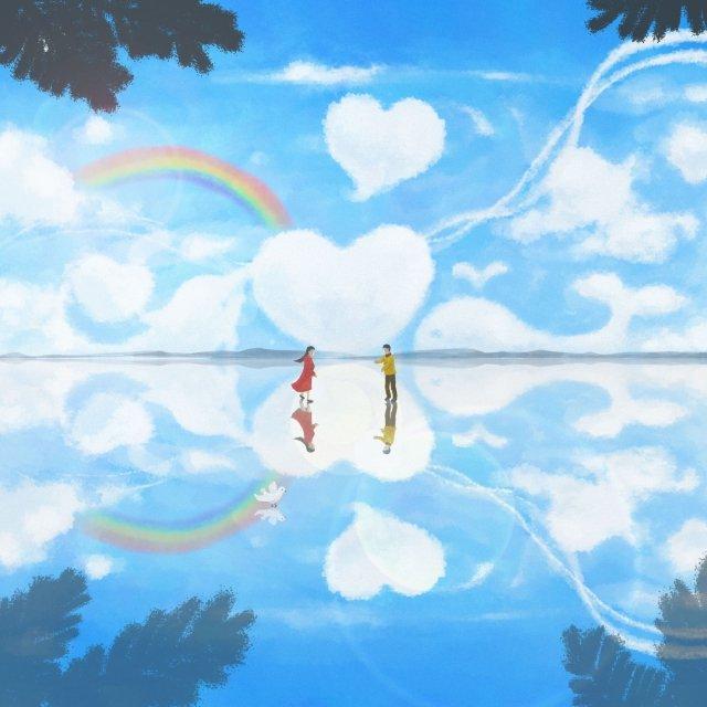 sky mirror romantic blue sky reflection, Wedding, Wedding Expo, Beautiful illustration image