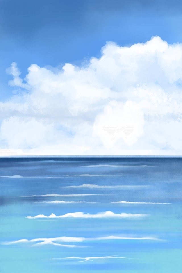 sky ocean hand painted blue, Clouds, Sky, Ocean illustration image