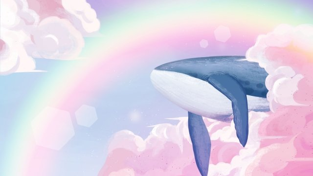 sky rainbow whale cloud, Cloud, Dream, Healing illustration image