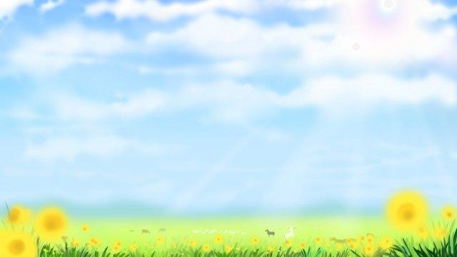 맑은 하늘 배경 삽화 소재
