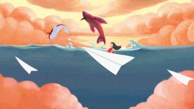 天空海景觀夢想 插畫素材 插畫圖片