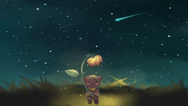 하늘 별 곰 별이 총총 한 하늘 그림 이미지