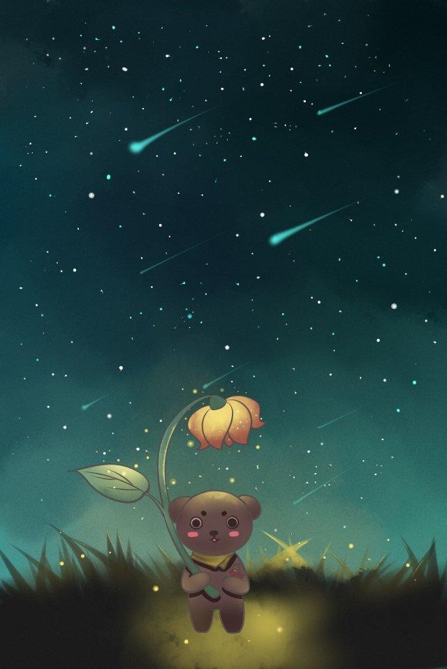 하늘 별 곰 별이 총총 한 하늘 일러스트레이션 이미지