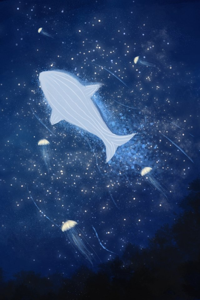 Sky Starry Night Dream Whale Jellyfish Sky Gwiaździste niebo Noc Sen Wieloryb MeduzaSky  Starry  Night PNG I PSD illustration image