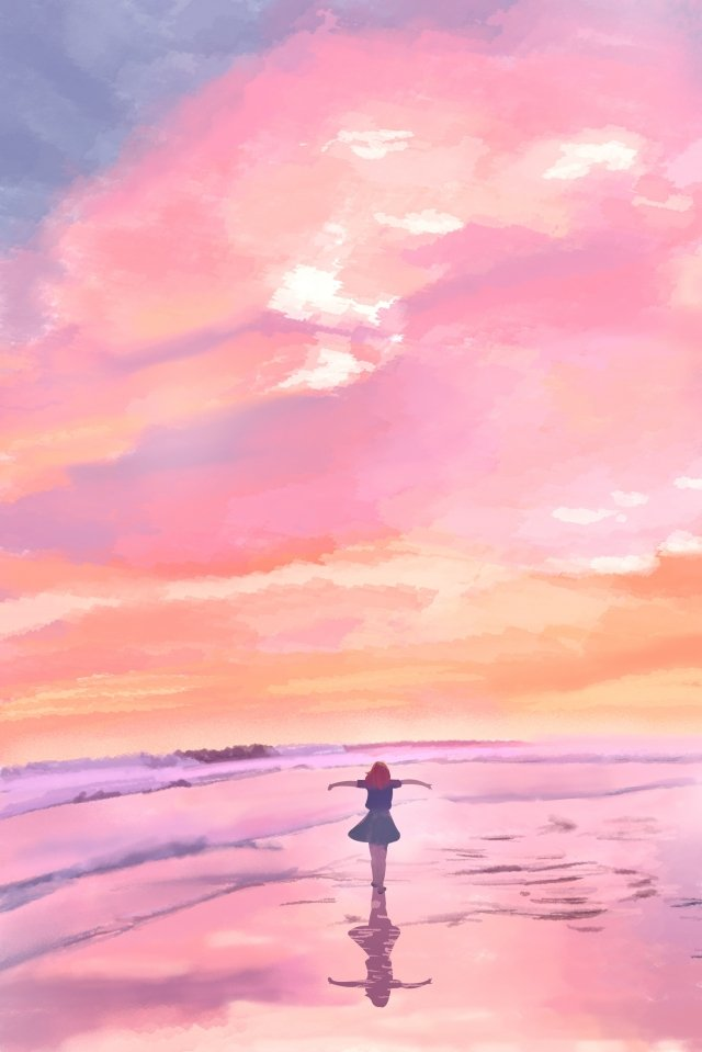 sky sunset seaside girl back view, Fire Cloud, Pink Clouds, Sincerity illustration image