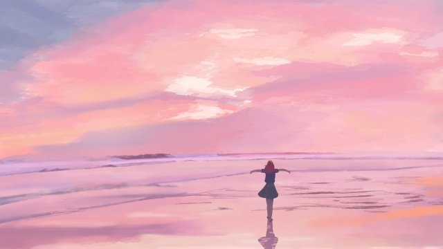 sky sunset seaside girl back view, Fire Cloud, Pink Clouds, SincerityPNGおよびPSD イラスト画像