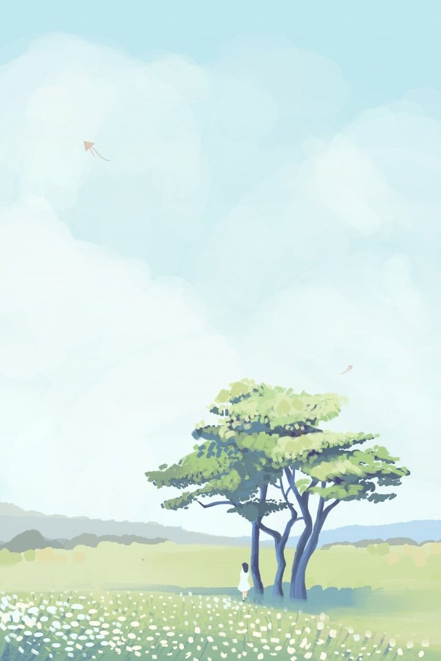 sky tree cloud cloud, White Clouds, Grassland, Girl illustration image