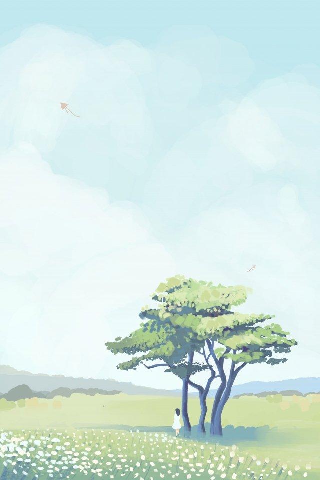 Árvore de pradaria e céu ilustração fresca Sky Árvore Cloud Cloud Nuvens brancas Pastagem Menina Papagaio Fresco LindaSky  Árvore  Cloud PNG E PSD illustration image
