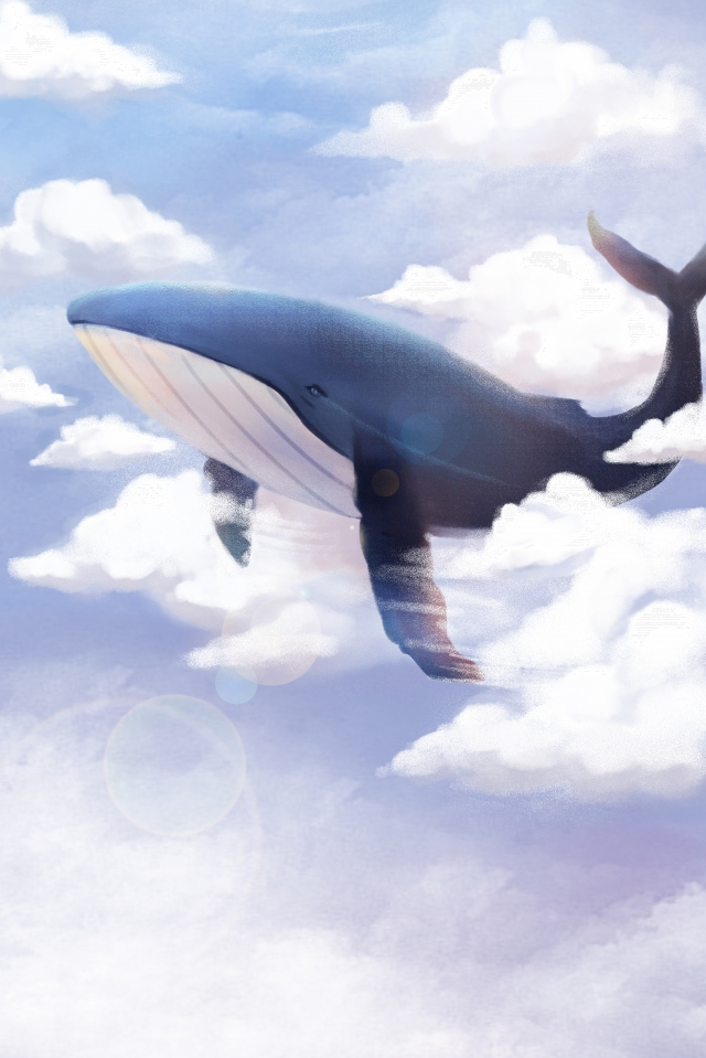 sky whale dream soar, Cloud, White Clouds, Clear Sky illustration image