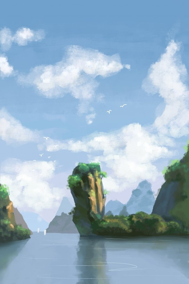 sky white clouds green water mountain, Landscape, Mountains, Green illustration image