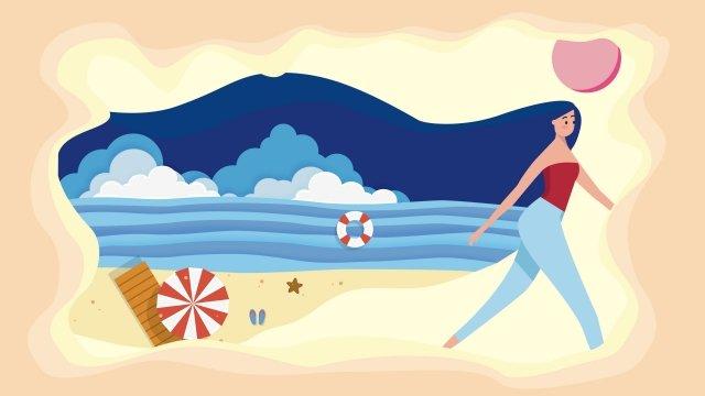 skyline landscape sea exotic llustration image