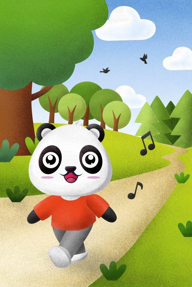小動物パンダ小道小さな道を歩いて イラスト画像