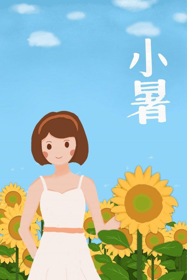 小さな熱少女ひまわり風景 イラスト素材 イラスト画像