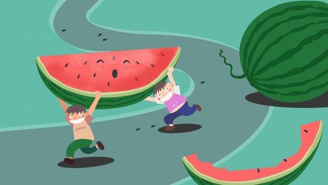 小熱量巨大的西瓜男孩 插畫素材 插畫圖片
