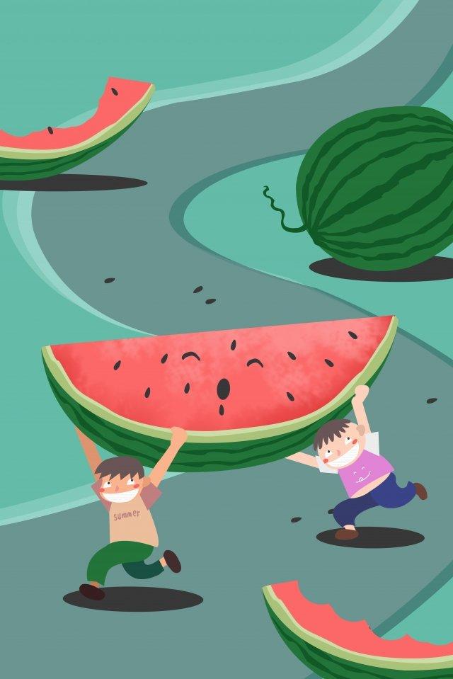 小熱量巨大的西瓜男孩 插畫素材