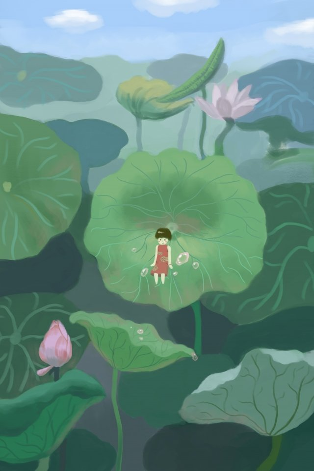 小さな蓮の葉蓮の蓮の池 イラスト素材