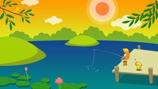 小夏夏荷花湖畔 插畫素材
