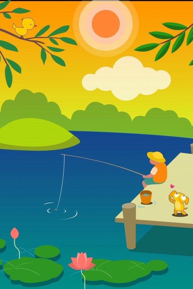 小さな暑い夏の蓮の湖畔 イラスト素材 イラスト画像
