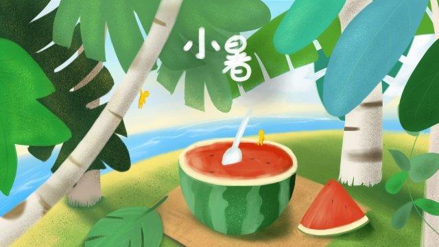 小熱夏天西瓜手繪 插畫素材 插畫圖片