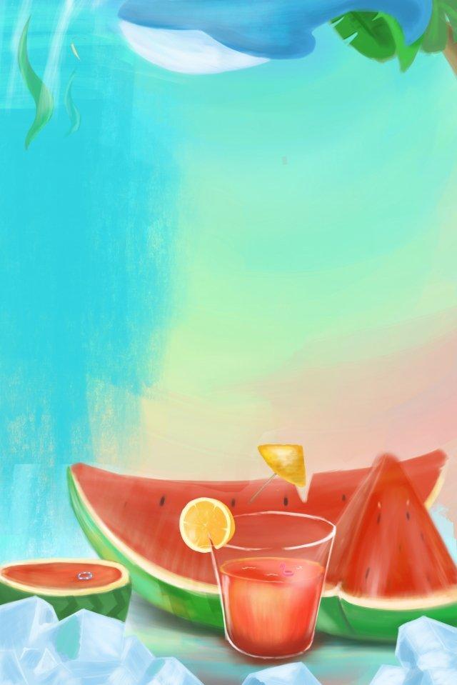 小さな熱夏スイカ手描き イラスト画像