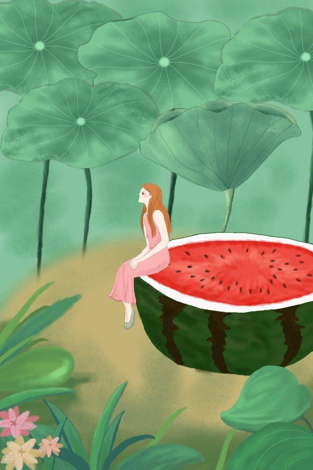 小暑天氣的西瓜旅行 小暑 天氣 西瓜 旅行 女孩 草叢 花朵 荷葉 清涼 舒爽 荷塘 溫暖小暑  天氣  西瓜PNG和PSD圖片素材 illustration image