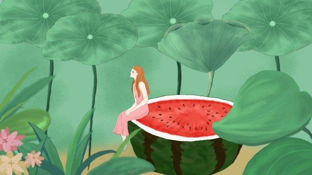 小暑天氣的西瓜旅行 小暑 天氣 西瓜 旅行 女孩 草叢 花朵 荷葉 清涼 舒爽 荷塘 溫暖小暑天氣的西瓜旅行  小暑  天氣PNG和PSD圖片素材 illustration image